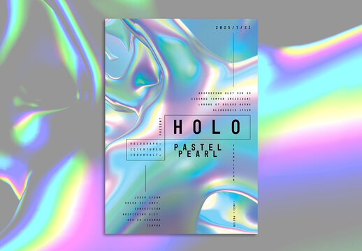 Event Poster Layout with Trendy Holographic Shapes Background