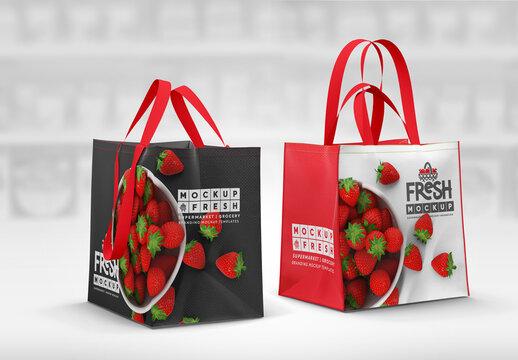 Double Handle Eco Bag  Pair Mockup