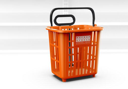 Isometric View Rolling Basket Trolley Mockup