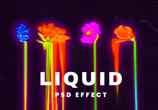 Liquid Photo Effect in Holographic and Psychedelic Colors