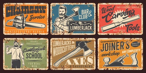 Fototapeta Lumberjack service, woodwork rusty metal plates. Strong man in shirt holding felling ax, lumberjack school, chainsaw service. Woodcutter axes, joiner workshop vector vintage posters rust tin signs set obraz