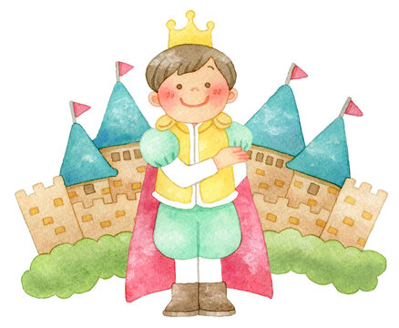 お辞儀をする王子様とお城