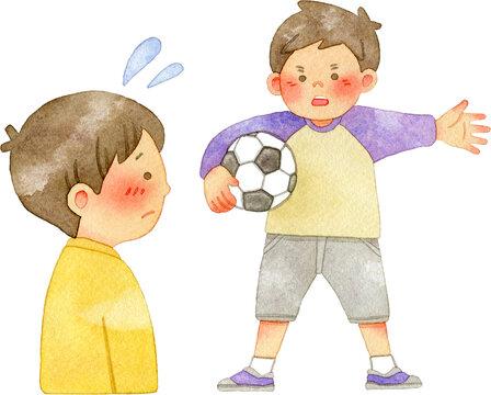 通せんぼをしてサッカーの仲間外れにする男の子と戸惑う男の子