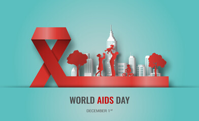 Fototapeta Design for World AIDS Day banner, the red ribbon is a sign of unity among HIV-positive people, paper illustration, and 3d paper. obraz