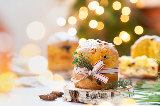 Traditional Italian Christmas cake Panettone with festive decorations