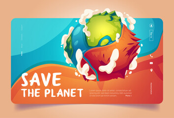 Fototapeta Save the planet cartoon landing page, earth globe surface with mountains, oceans and clouds. Environment protection, renewable energy and sustainable development eco conservation vector web banner obraz