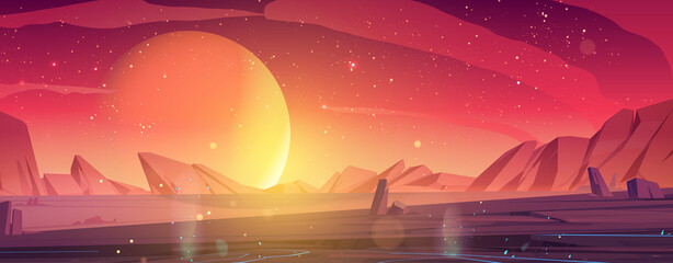 Obraz Alien planet landscape, dusk or dawn desert surface with mountains, rocks and sun shining on red and orange starry sky. Space extraterrestrial computer game background, cartoon vector illustration - fototapety do salonu