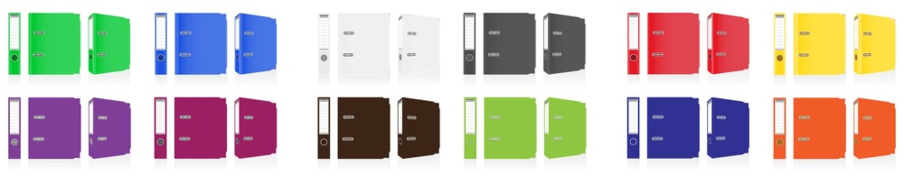 folder colors binder metal rings for office, 3 ring binder, realistic mock up. Set of white, gray,Files and Folders Vector Office binders, standing five in row,