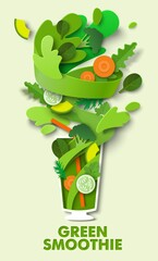 Fototapeta Glass of delicious green vegetable smoothie, vector paper cut illustration. Healthy drink. Food rich in vitamins. obraz