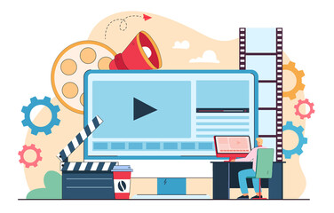 Fototapeta Male cartoon character publishing multimedia content in studio. Business person working on visual effects in media editor flat vector illustration. Video production concept for banner, website design obraz