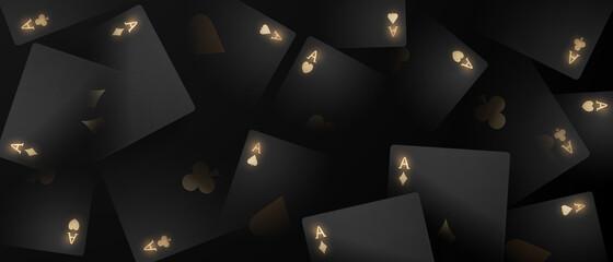 Fototapeta Playing card. Winning poker hand casino chips flying realistic tokens for gambling, cash for roulette or poker, obraz