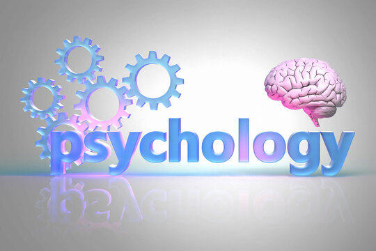 The word Psychology and gears the labyrinth and human brain