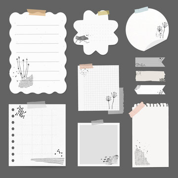 Digital stickers vector element set with memphis drawing