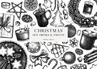 Obraz Vintage Christmas banner design. Hand-sketched holiday background with Christmas decoration, traditional sweets and winter. Christmas or New Year card or invitation template - fototapety do salonu