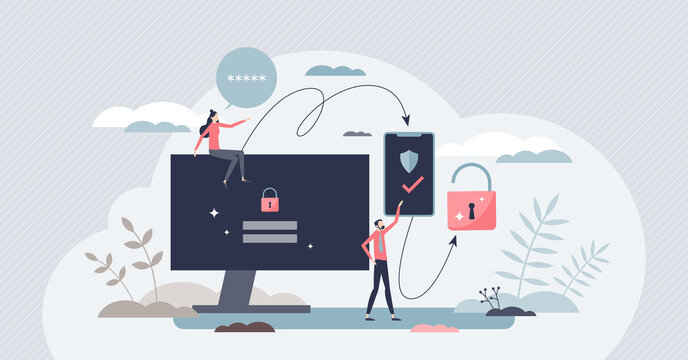 Two factor authentication or multi step verification tiny person concept. Request identity approval with login or PIN code from smartphone vector illustration. Safety technology for user validation.