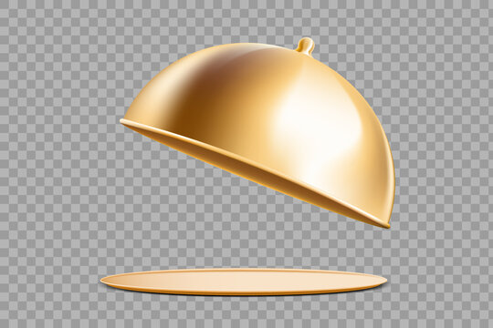 Golden tray with cloche. Template isolated on transparent background