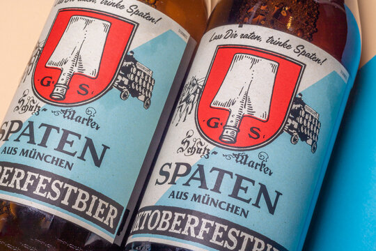 Neckargemuend, Germany: October 06, 2021: two bottle labels of special Oktoberfest beer from the famous Munich brewery Spaten in nostalgic design