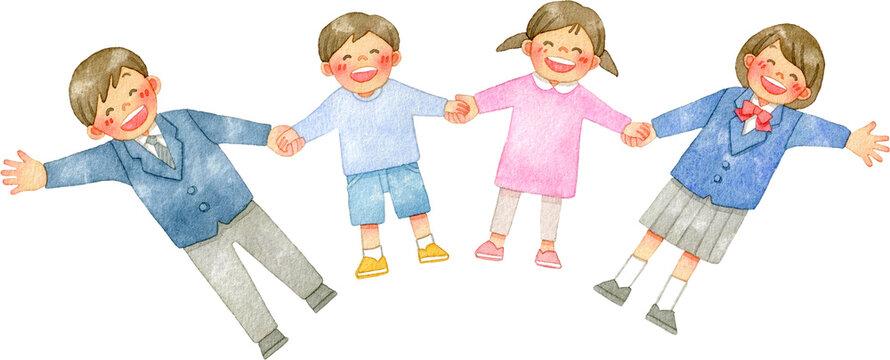 手をつなぐ笑顔の人々