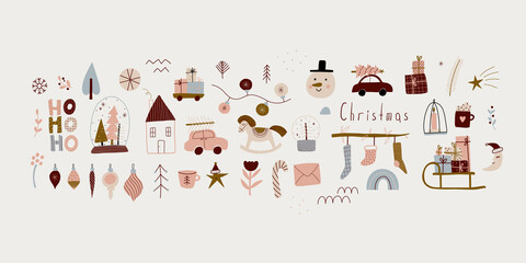 Obraz modern boho hygge minimalism. merry christmas and new year. winter stickers for design. vector set of christmas elements. - fototapety do salonu