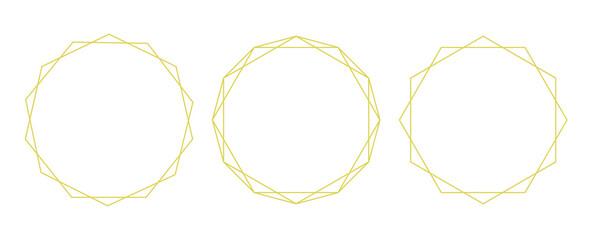 Fototapeta 多角形、幾何学的な図形のフレーム、背景素材のイラストセット カラーバージョン obraz