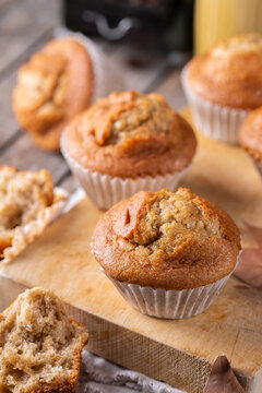 Homemade autumn cakes or muffins with nuts and spices