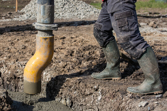 Process of concreting the foundations of the new house, building a new bungalov, buildings concept