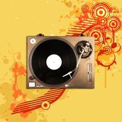 Fototapeta Gramophone record player. Turntable for single vinyl on color background. obraz