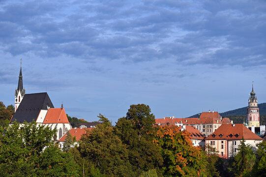 Saint Vitus Church and Castle tower cityscape in  Cesky Krumlov Czech republic