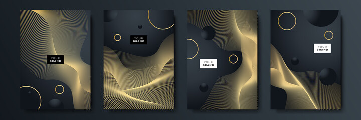 Abstract luxury gold black background with golden lines