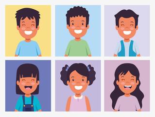 Fototapeta set children smiling photos obraz
