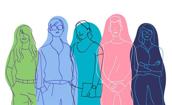 Team di giovani talenti. Gruppo di personaggi colorati maschili e femminili
