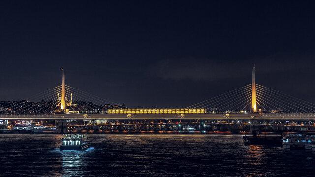 Ataturk Bridge in Istanbul in the night