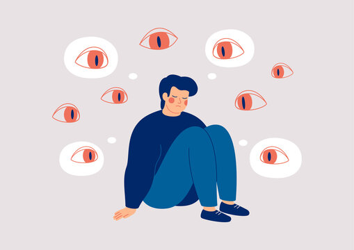 Sad man surrounded by giant eyes feeling overwhelmed and helpless. Depressed boy suffers from phobias and fears. The psychological concept of mental disorder and paranoia. Vector illustration