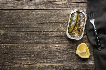 Fototapeta Canned sardines. Sea fish in tin can. obraz