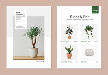 Obraz Editable Houseplant Poster Template - fototapety do salonu
