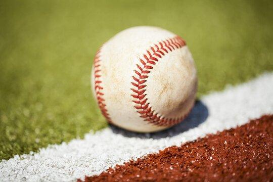 Baseball on the foul line