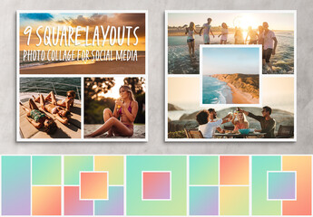Fototapeta Square Photo Collage Layouts for Social Network obraz