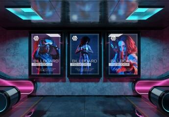 Fototapeta Billboards Mockup in Neon Style Underground Station obraz