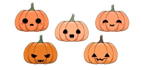 Fototapeta Zestaw dyń na Halloween. Śmieszne twarze. Wydrążone dynie na jesienne święto. Kolekcja zabawnych październikowych dekoracji. Ilustracja wektorowa.  obraz