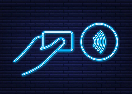 Contactless wireless pay sign logo. NFC technology. Near field communication. Nfc neon sign. Vector stock illustration.