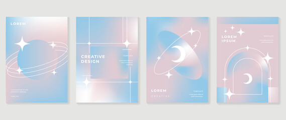 Fototapeta Fluid gradient background vector. Cute and minimalist style posters, Photo frame cover, wall arts with pastel colorful geometric shapes and liquid color. Modern wallpaper design for social media, idol obraz