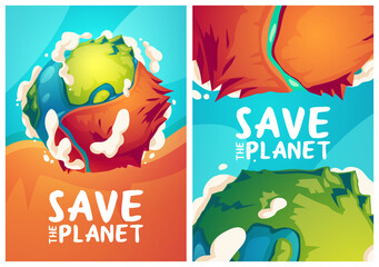 Obraz Save planet posters with Earth globe with dry part. Vector banners of environment protection, nature conservation with cartoon illustration of green planet with big dirty desert - fototapety do salonu