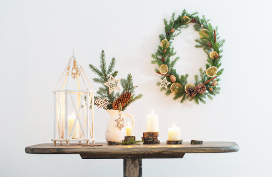 Christmas decoration on background white wall