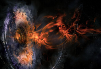 Fototapeta Abstract space wallpaper. Black hole with nebula over colorful stars and cloud fields in outer space. Plasma flame bursts out of the collapsar. Elements of this image furnished by NASA. obraz