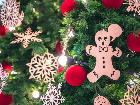 Christmas decoration Ginger bread ornament on Xmas tree Holiday background