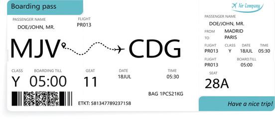 Fototapeta Airline boarding pass ticket isolated on white background. obraz