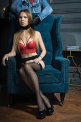 Obraz Procedural drama. Hitman strangled the beautiful business woman with scarf.. - fototapety do salonu