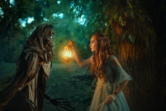 Fantasy woman elf walks in night forest, holding lantern in hands. Girl is hunted by dark fairy demon ghost of Death, black skeleton in cloak hood. Cosplay character book of Feyre Archeron and Suriel