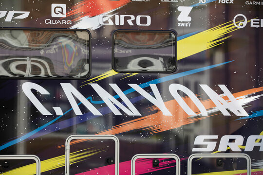 Bicester, UK - October 2021: Logo for Canyon Bicycles on a team racing van at a sports event