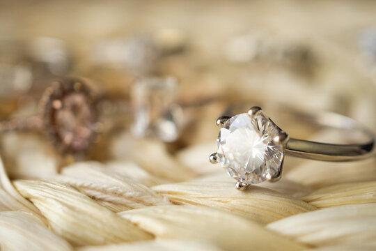Jewelry diamond wedding rings close up